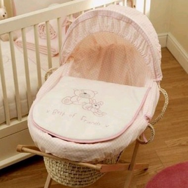 Lollipop Lane Best of Friends Moses Basket-Pink CLEARANCE