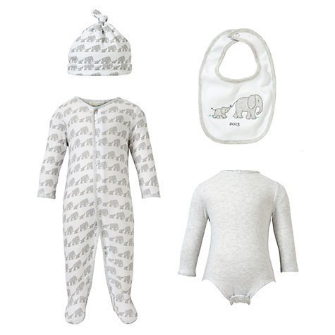 John Lewis Baby Elephant Set, Grey