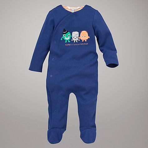 John Lewis Baby Little Monster Sleepsuit, Blue