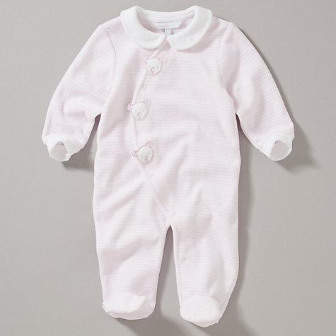 John Lewis Baby Pink Teddy Faces Stripe Velour Sleepsuit