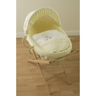 Lollipop Lane Fluff Whiskey & Chirp Moses Basket-Yellow CLEARANCE