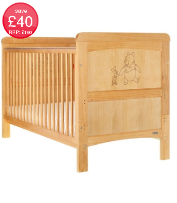 Obaby Disney Winnie The Pooh & Piglet Cot Bed - Country Pine