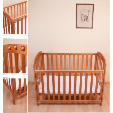 Abbi Dropside Cot-Antique Pine + FREE FOAM MATTRESS!
