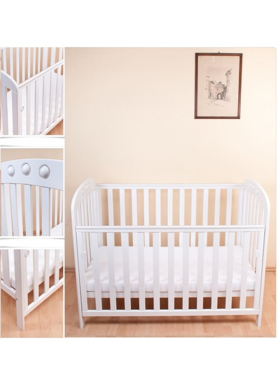 Abbi Dropside Cot-White + FREE FOAM MATTRESS!