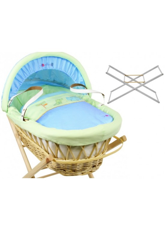 Dormouse Padded WHITE Wicker Basket-Croc & Rumble + FREE Stand!