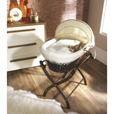 Izziwotnot Dark Wicker Moses Basket-Cream Gift + Free Stand (Dark & Natural Stand Available Only)!