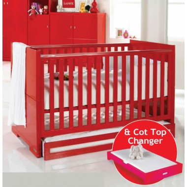 Izziwotnot Skyline Cot Bed-Red + FREE Drawer & FREE Cot Top Changer