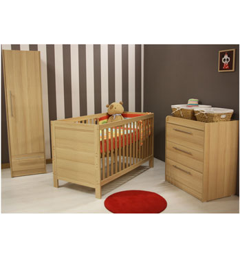 Kiddicare Trio Nursery Furniture Roomset - Oak