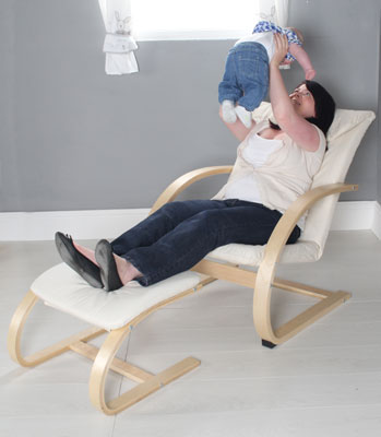 Kiddicare.com Nursery Chair and Stool - Natural