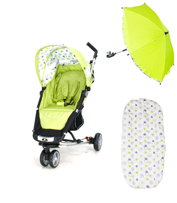 Petite Star Zia Stroller - Lime with Accessory Pack